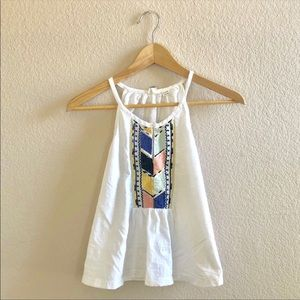 Roxy embroidered white tank